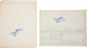 Buzz Aldrin: Two Signed NASA Blueprints For Apol