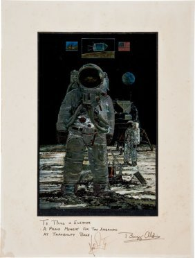 Buzz Aldrin Color Print Signed On Mat Originally