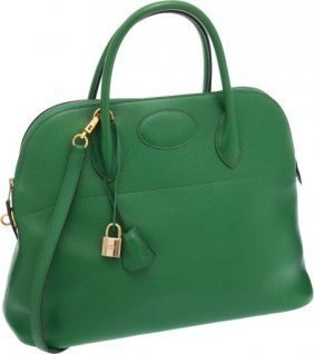 Hermes 37cm Vert Clair Courchevel Leather Bolide