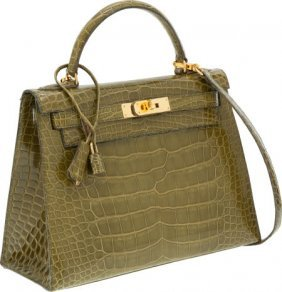 Hermes 28cm Shiny Vert Chartreuse Alligator Sell