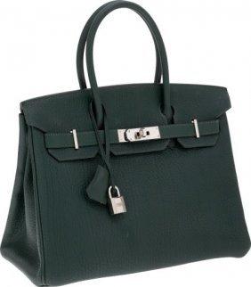 Hermes 30cm Vert Fonce Fjord Leather Birkin Bag