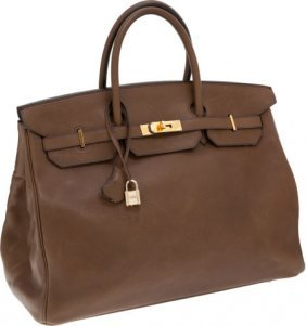 Hermes 40cm Olive Barenia Leather Birkin Bag Wit