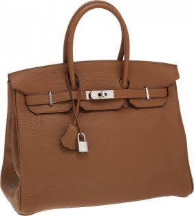 Hermes 35cm Alezan Togo Leather Birkin Bag With