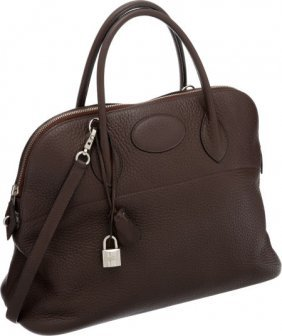 Hermes 37cm Caf� Clemence Leather Bolide Bag Wit