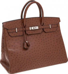 Hermes 40cm Noisette Ostrich Birkin Bag With Pal