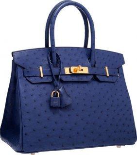 Hermes 30cm Blue Iris Ostrich Birkin Bag With Go
