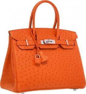 Hermes 30cm Tangerine Ostrich Birkin Bag With Pa