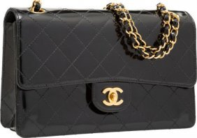 Chanel Black Quilted Patent Leather Medium Singl