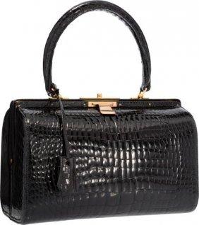 Hermes Shiny Black Crocodile Doctor Bag With Gol