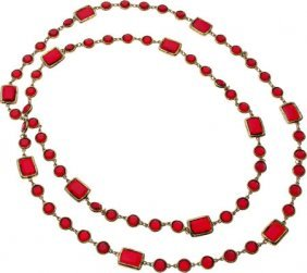 Chanel Red Crystal & Gold Sautoir Necklace Very