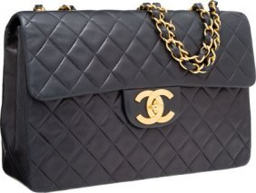 Chanel Navy Blue Quilted Lambskin Leather Maxi S