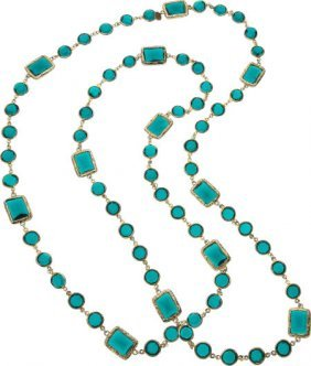 Chanel Green Crystal And Gold Sautoir Necklace V