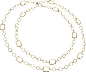 Chanel Clear Crystal & Gold Sautoir Necklace Exc