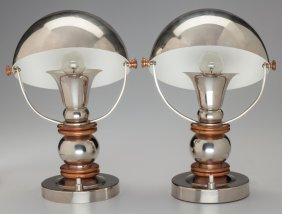 A Pair Of French Nickel-plated Aluminum And Copp