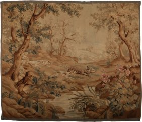 A Flemish Baroque-style Hunting Tapestry, 18th C