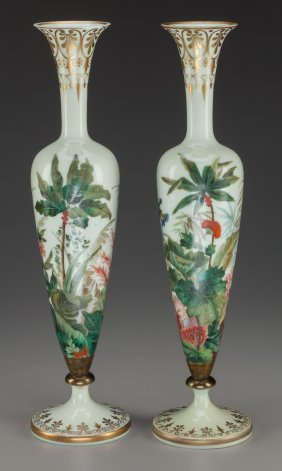 A Pair Of French Painted Opaline Glass Vases, Ci