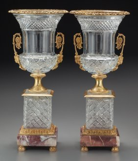 A Pair Of Baccarat-style Cut Glass Urns With Bro
