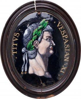 A Framed Limoges Enameled Miniature Portrait Of