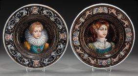 A Pair Of Limoges Enameled Plaques: Julia Bella