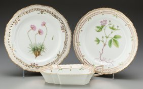 Three Royal Copenhagen Flora Danica Pattern Porc