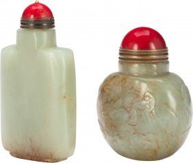 Two Carved Celadon Jade Snuff Bottles 3-1/8 Inch