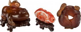 Three Chinese Hardstone Carvings 2 Inches High (