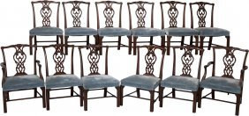 A Set Of Twelve Chippendale-style Velvet Upholst