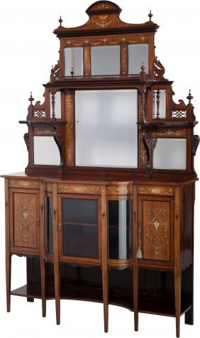 An Edwardian Mahogany, Satinwood And Marquetry M