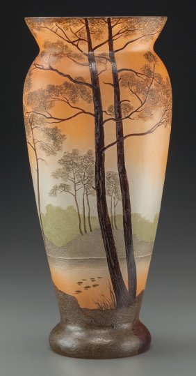 A Legras Enameled Glass Landscape Vase, Late 19t