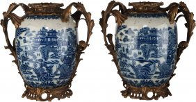 A Pair Of Chinese Blue & White Porcelain Vases W