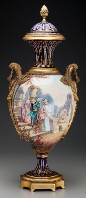 A Large Sèvres-style Porcelain Urn With Partial
