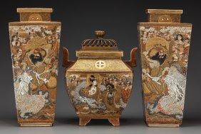 A Pair Of Japanese Satsuma Enameled Porcelain Va