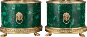 A Pair Of Neoclassical Malachite Veneered And Gi