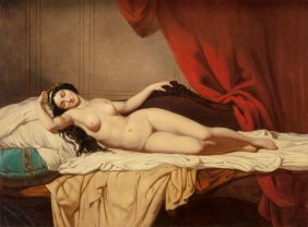 French School (19th Century) Odalisque Oil On Ca