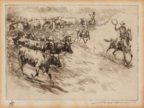Edward Borein (american, 1873-1945) Heading 'em