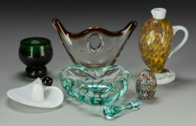 A Group Of Seven Venetian Blown Glass Table Arti