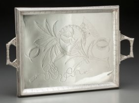 A Pairpoint Silver-plated Engraved Tray, New Bed
