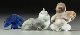 Three Lalique Frosted Glass Figures: Happy Cat,
