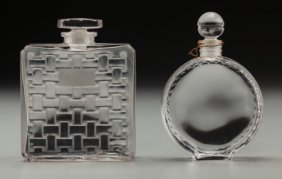 Two Lalique Clear And Frosted Glass Perfumes, Ci