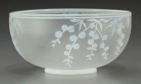 A Thomas Webb & Sons Overlay Glass Floral Bowl,