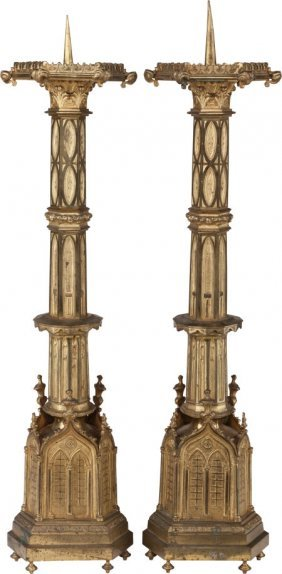 A Pair Of Italian Gothic Revival Gilt Brass Pric