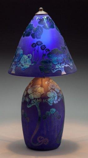 A Schneider-style Cobalt And Iridescent Glass La