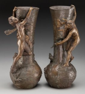 A Pair Of Antoine Bofill Art Nouveau Patinated B