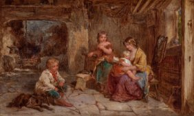 James Curnock (british, 1812-1870) Mother And Ch