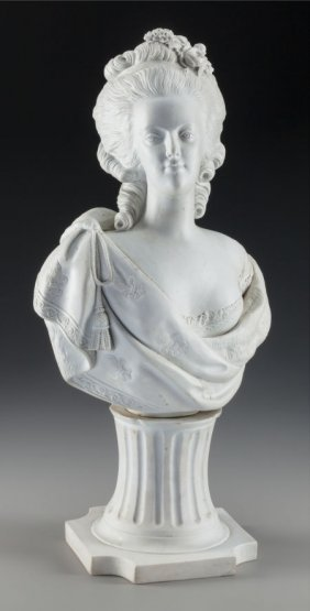A French Bisque Porcelain Bust Of Marie Antoinet
