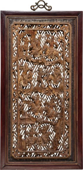 A Chinese Carved And Gilt Rosewood Panel, 20th C