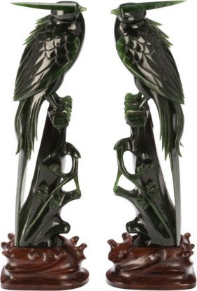 A Pair Of Chinese Carved Spinach Jade Parrots On