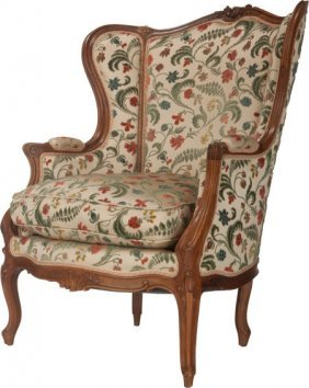 A Louis Xv-style Floral Upholstered Walnut Bergè