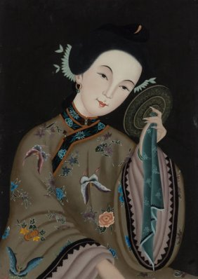 Chinese School (20th Century) Woman With Mirror