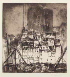 Earl Horter (american, 1881-1940) Cityscape Etch